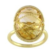 Sofia B. 14k Gold Over Silver Citrine Chain-Wrapped Frame Ring