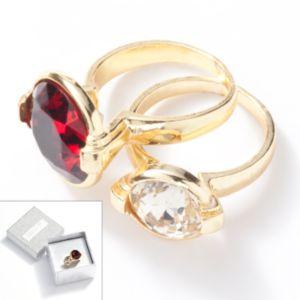 Jennifer Lopez Gold Tone Simulated Crystal Ring Set