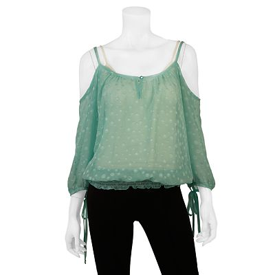 IZ Byer California Cold-Shoulder Peasant Top - Juniors