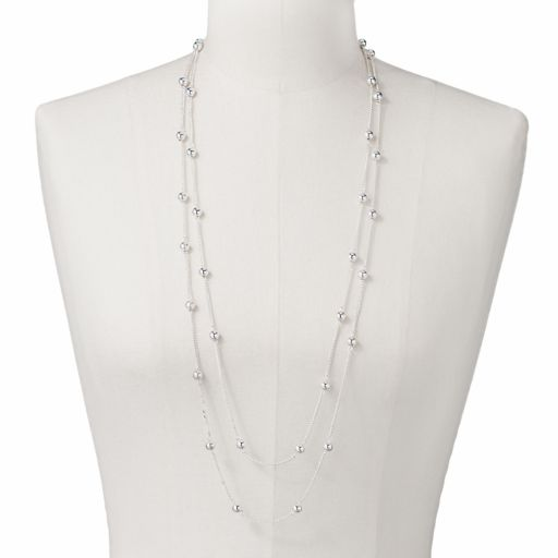 Silver Tone Bead Station Necklace