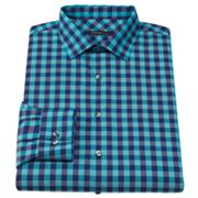 Van Heusen Slim-Fit Checked Spread-Collar Dress Shirt