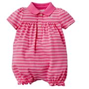 Chaps Striped Polo Romper - Baby