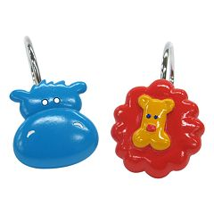 Allure Home Creations Hippo & Lion 12 pkShower Curtain Hooks