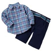 Chaps Plaid Polo and Pants Set - Baby