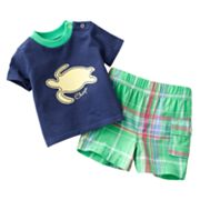 Chaps Sea Turtle Tee and Plaid Shorts Set - Baby