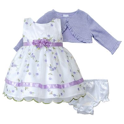 Youngland Floral Schiffli Dress and Cardigan Set - Newborn