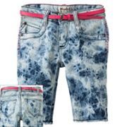 Mudd Tie-Dye Belted Denim Bermuda Shorts - Girls 7-16