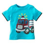 Jumping Beans Mock-Layer Fire Truck Tee - Baby