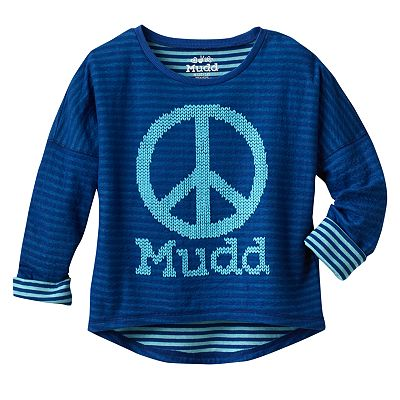 Mudd Peace Striped Reversible Tee - Girls 7-16
