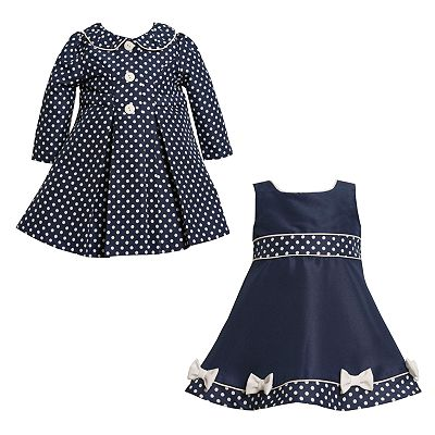 Bonnie Jean Jacquard Polka-Dot Coat and Dress Set - Baby