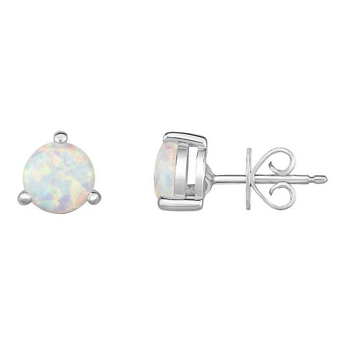Sterling Silver Lab-Created Opal Stud Earrings