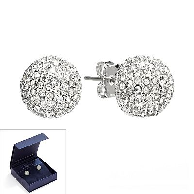 Napoli Silver Tone Simulated Crystal Ball Stud Earrings