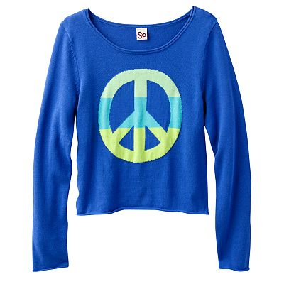 SO Neon Peace Crop Sweater - Girls 7-16