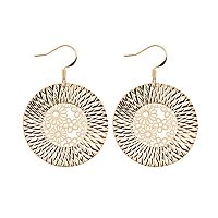 14k Gold Plated Flower Disc Drop Earrings