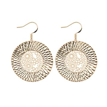 14k Gold Plated Flower Disc Drop Earrings