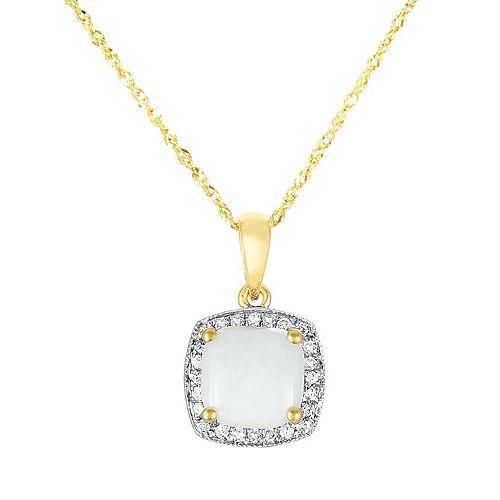 14k Gold Opal & Diamond Accent Frame Pendant
