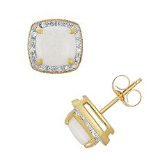 14k Gold 1/8 ctT.W. Diamond & Opal Stud Earrings