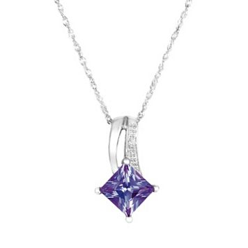 10k White Gold Lab-Created Alexandrite & Diamond Accent Pendant
