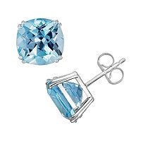14k White Gold Blue Topaz Stud Earrings