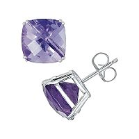 14k White Gold Amethyst Stud Earrings