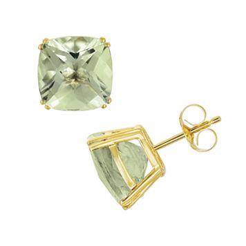 14k Gold Green Quartz Stud Earrings