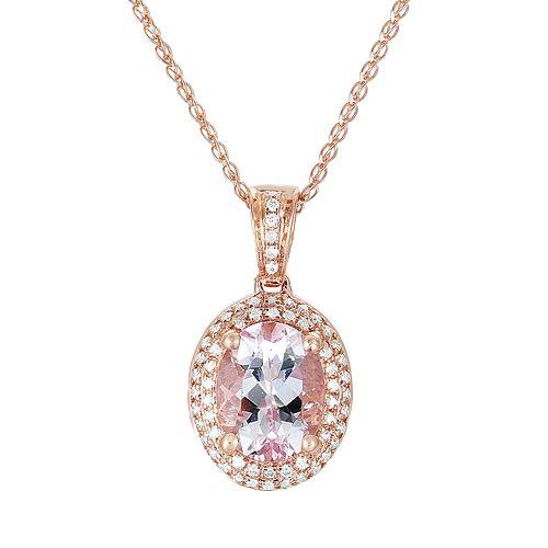 14k Rose Gold .18-ct. T.W. Diamond & Morganite Frame Pendant
