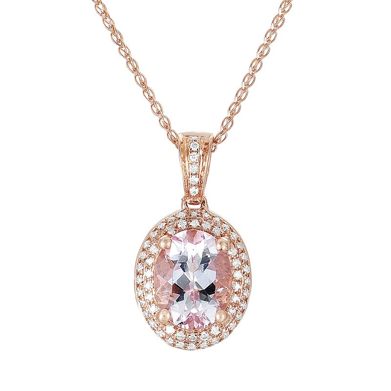 877a6e0c8 14k Rose Gold .18-ct. T.W. Diamond Morganite Frame Pendant