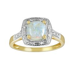 14k Gold Opal & Diamond Accent Frame Ring