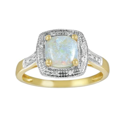 14k Gold Opal and Diamond Accent Frame Ring
