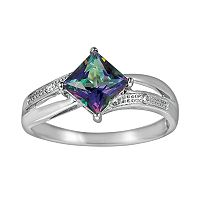 10k White Gold Lab-Created Alexandrite & Diamond Accent Ring