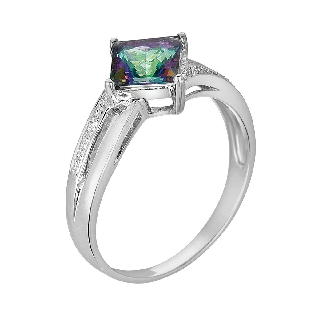 10k White Gold Lab-Created Alexandrite and Diamond Accent Ring