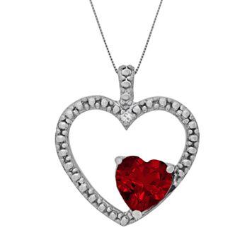 Sterling Silver Garnet & Diamond Accent Heart Pendant