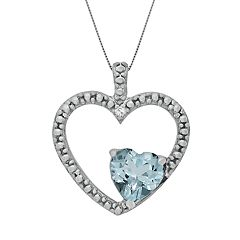 Sterling Silver Lab-Created Aquamarine & Diamond Accent Heart Pendant