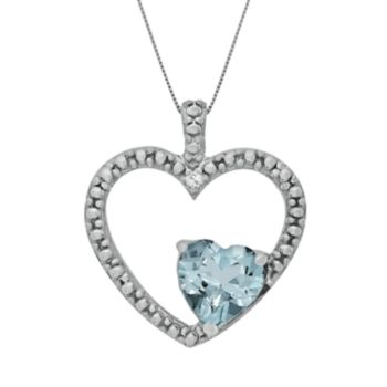 Sterling Silver Lab-Created Aquamarine and Diamond Accent Heart Pendant