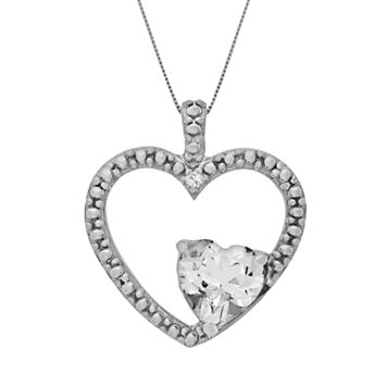 Sterling Silver White Topaz & Diamond Accent Heart Pendant