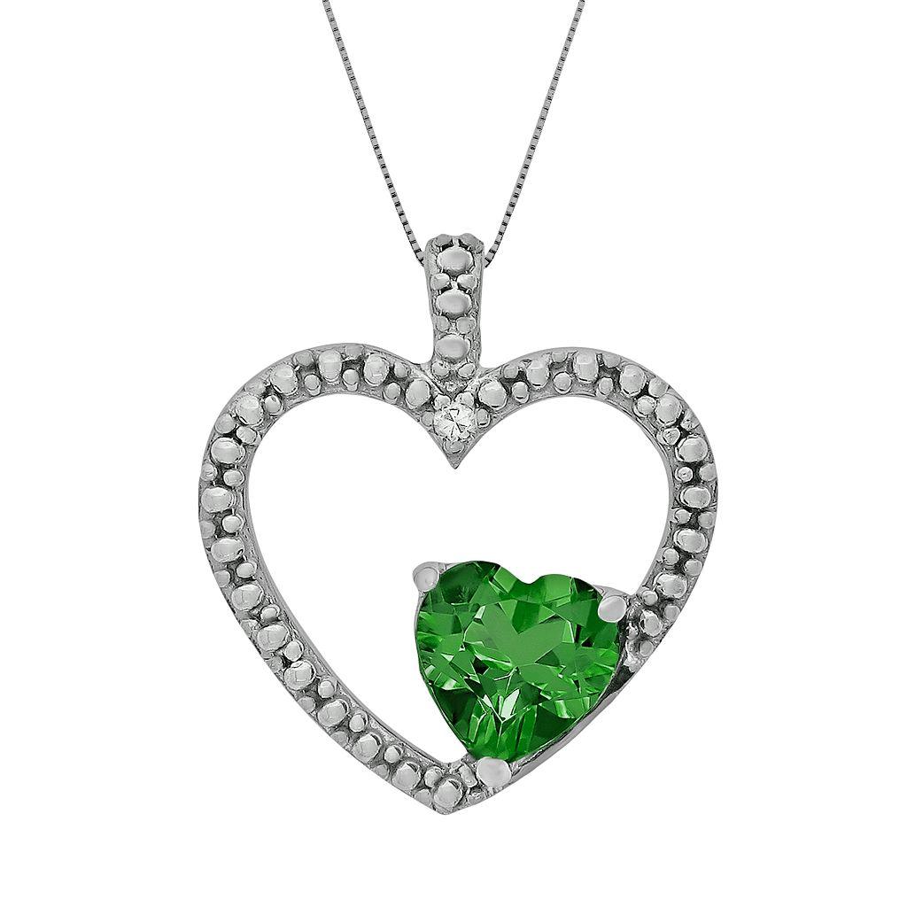 Sterling Silver Lab-Created Emerald & Diamond Accent Heart Pendant