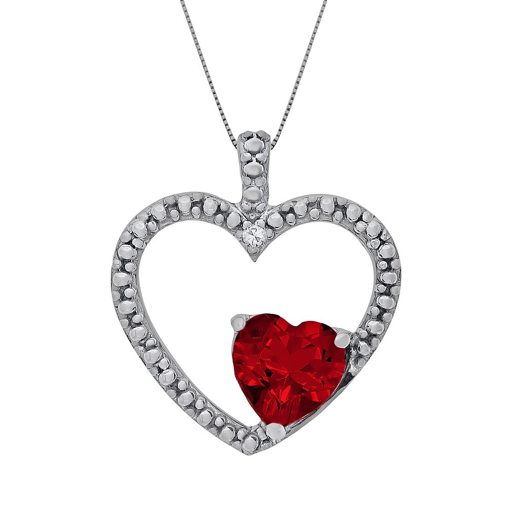 Sterling silver lab created ruby diamond accent heart pendant aloadofball