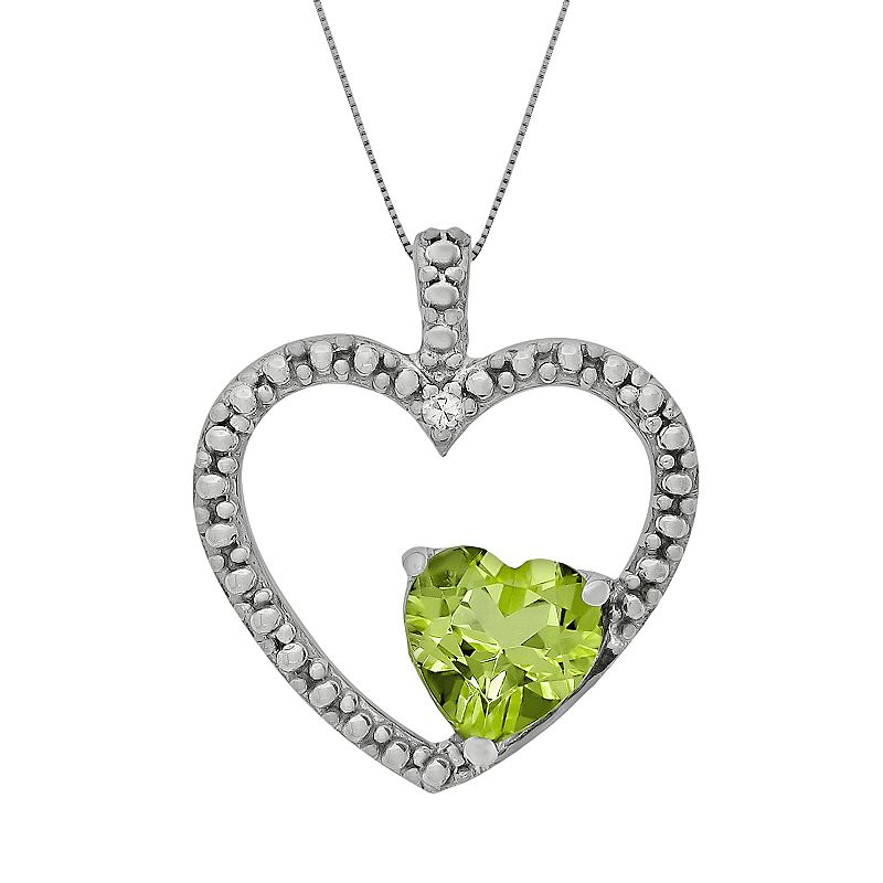 "Sterling Silver Peridot and Diamond Accent Heart Pendant, Women's, Size: 18"", Green"