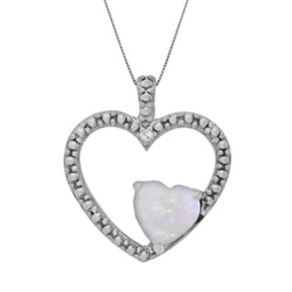 Sterling Silver Lab-Created Opal and Diamond Accent Heart Pendant