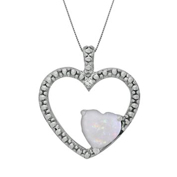 Sterling Silver Lab-Created Opal & Diamond Accent Heart Pendant