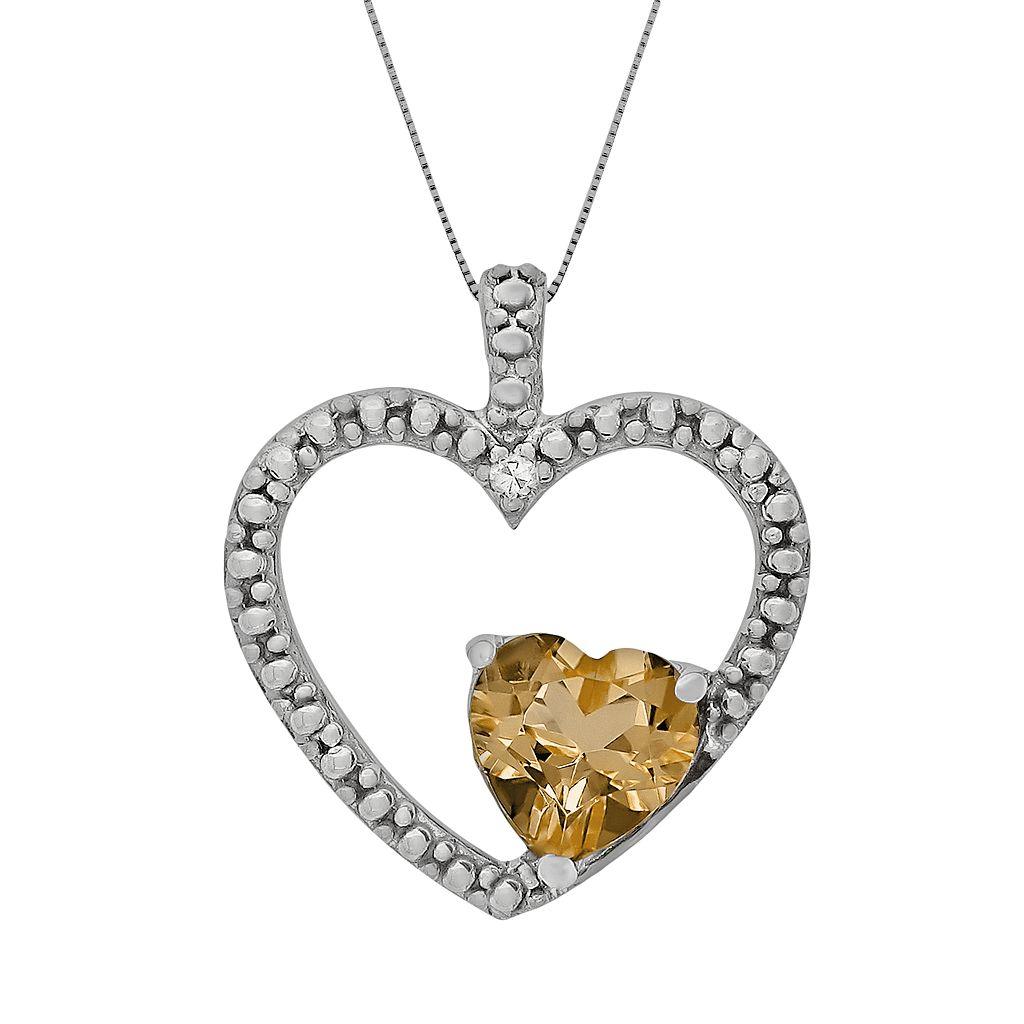 Sterling Silver Citrine & Diamond Accent Heart Pendant