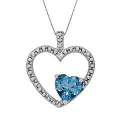 Sterling Silver Blue Topaz & Diamond Accent Heart Pendant