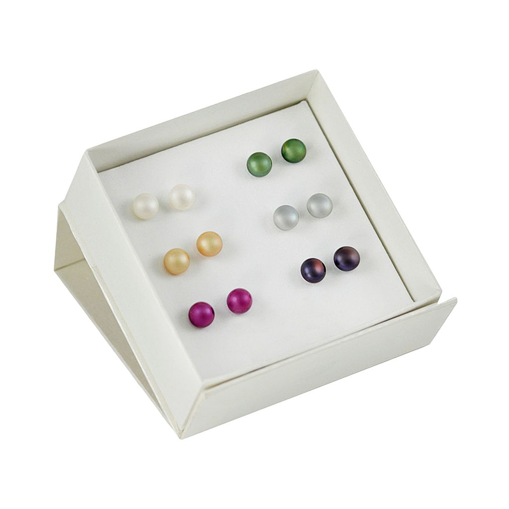 Sterling Silver Dyed Freshwater Cultured Pearl Stud Earring Set