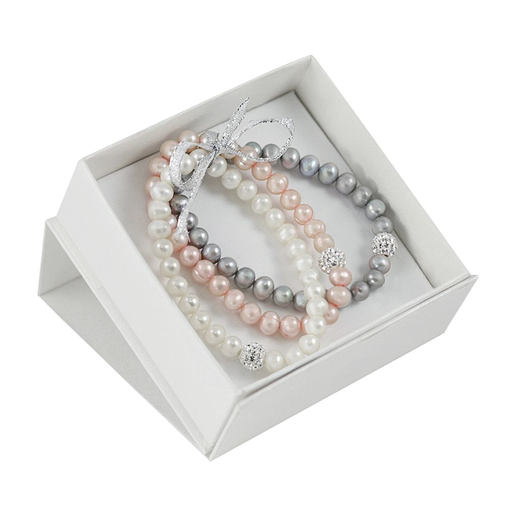 Dyed Freshwater Cultured Pearl and Crystal Stretch Bracelet Set