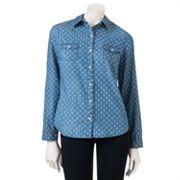SO Chambray Polka-Dot Button-Front Shirt - Juniors