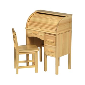 Guidecraft Jr. Roll-Top Desk & Chair Set - Light Oak