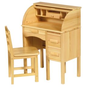 Guidecraft Jr. Roll-Top Desk and Chair Set - Light Oak