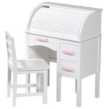 Guidecraft Jr. Roll-Top Desk & Chair Set - White