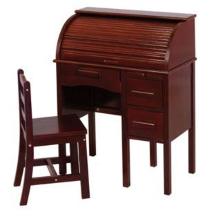 Guidecraft Jr. Roll-Top Desk and Chair Set - Espresso