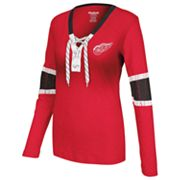 Reebok Detroit Red Wings Lace-Up Henley - Women
